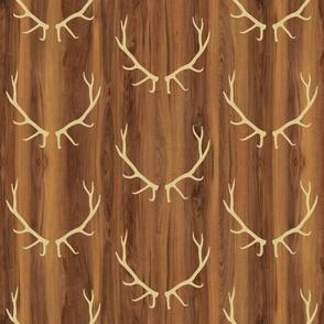 Tan Elk Antlers // Dark Wood Grain // Large
