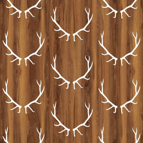 White Elk Antlers // Dark Wood Grain // Large