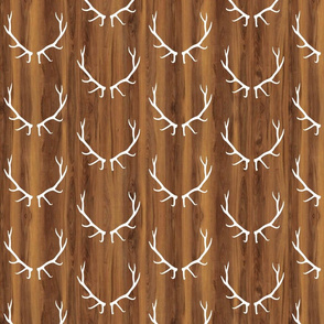 White Elk Antlers // Dark Wood Grain // Small