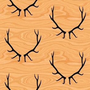 Elk Antlers // Light Wood Grain // Large