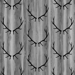 Elk Antlers // Grey Wood Grain // Large