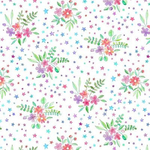 Tiny Watercolor Floral with Stars on White