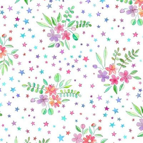 Watercolor Floral with Stars on White
