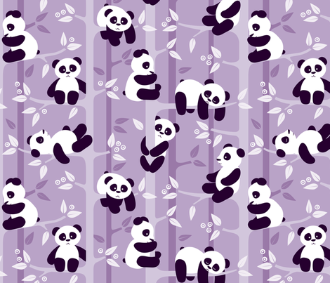panda forest - lilac fabric by heleenvanbuul on Spoonflower - custom fabric