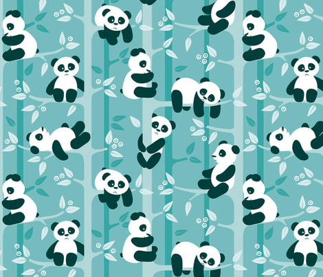 panda forest - teal fabric by heleenvanbuul on Spoonflower - custom fabric