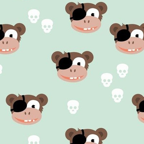 Little pirate sailor monkey kids design with skulls mint