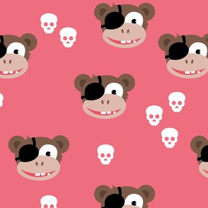 Little pirate sailor monkey kids design with skulls pink