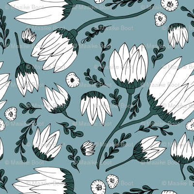 Raw botanical garden illustration lush flowers and leaves in blue teal XXL