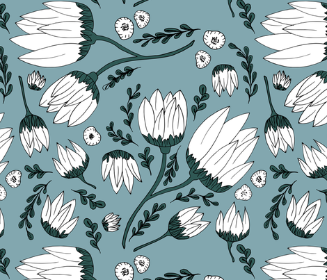 Raw botanical garden illustration lush flowers and leaves in blue teal XXL fabric by littlesmilemakers on Spoonflower - custom fabric
