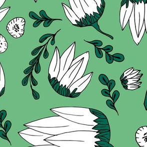 Raw botanical garden illustration lush flowers and leaves in green XXL