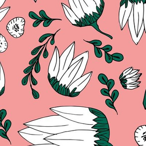 Raw botanical garden illustration lush flowers and leaves in blush pink green XXL