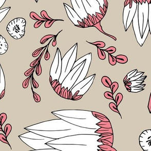 Raw botanical garden illustration lush flowers and leaves in pink beige XXL
