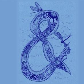 Ampersand doodling-Blue