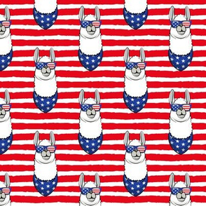 llamas with patriotic glasses (red stripes)