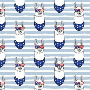 llamas with patriotic glasses (blue stripes)