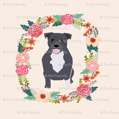8 inch pitbull floral wreath flowers dog breed fabric