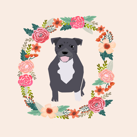 8 inch pitbull floral wreath flowers dog breed fabric  fabric by petfriendly on Spoonflower - custom fabric