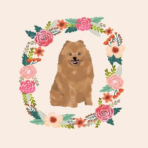 8 inch pomeranian floral wreath flowers dog breed fabric