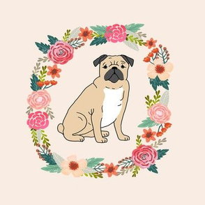 8 inch pug floral wreath flowers dog breed fabric