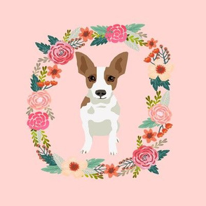 8 inch rat terrier floral wreath flowers dog breed fabric
