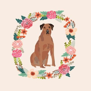 8 inch rhodesian ridgeback floral wreath flowers dog breed fabric