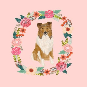 8 inch rough collie floral wreath flowers dog breed fabric