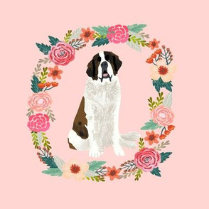 8 inch saint bernard floral wreath flowers dog breed fabric