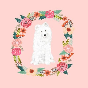 8 inch samoyed floral wreath flowers dog breed fabric