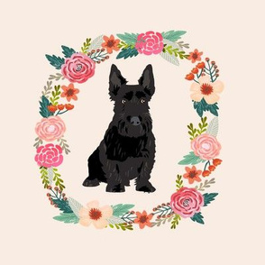 8 inch scottie floral wreath flowers dog breed fabric scottish terrier