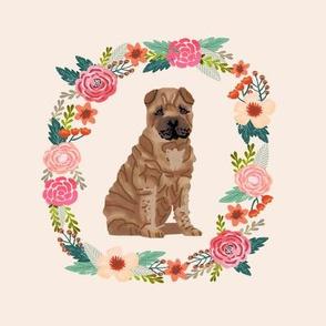 8 inch sharpie floral wreath flowers dog breed fabric  wreath