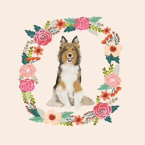 8 inch sheltie floral wreath flowers dog breed fabric