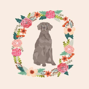8 inch weimaraner floral wreath flowers dog breed fabric