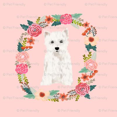 8 inch westie floral wreath flowers dog breed fabric west highland terrier