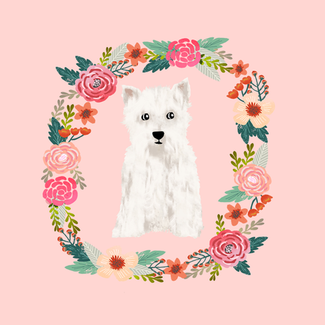 8 inch westie floral wreath flowers dog breed fabric west highland terrier fabric by petfriendly on Spoonflower - custom fabric