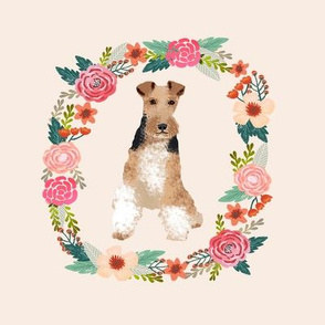 8 inch wire fox terrier floral wreath flowers dog breed fabric
