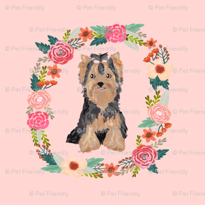 8 inch yorkie floral wreath flowers dog breed fabric yorkshire terrier