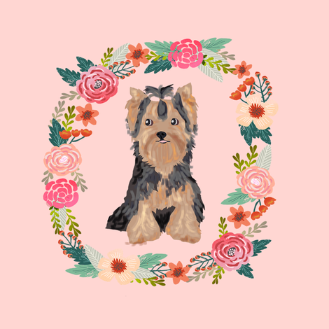 8 inch yorkie floral wreath flowers dog breed fabric yorkshire terrier fabric by petfriendly on Spoonflower - custom fabric