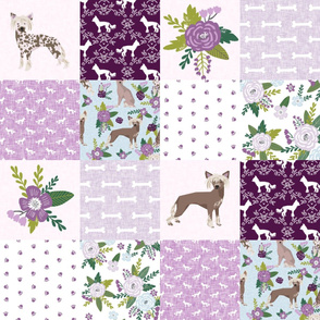 chinese crested pet quilt c dog breed nursery quilt wholecloth cheater floral