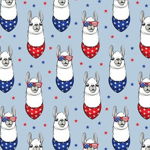 patriotic llamas on blue 2 with stars