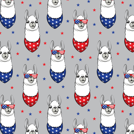 patriotic llamas on grey with stars fabric by littlearrowdesign on Spoonflower - custom fabric