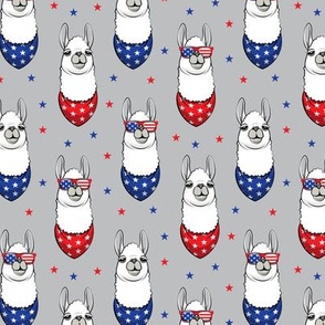 patriotic llamas on grey with stars
