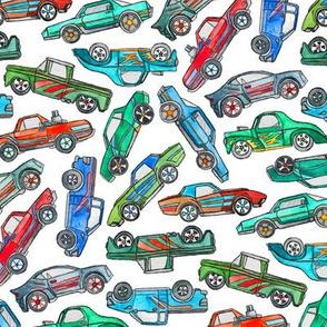 Toy Car Pile Up on White - large