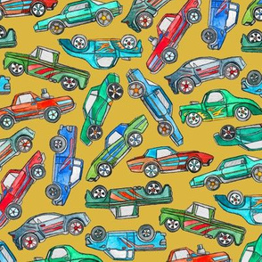 Toy Car Pile Up on Mustard Yellow - large
