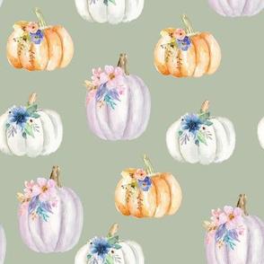 Floral Pumpkins // Sage