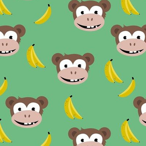 Cute little banana monkey fun fruit kids design green