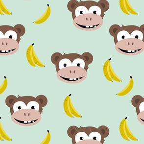Cute little banana monkey fun fruit kids design mint