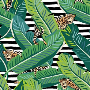 "8"" Cheetah & Tropical Leaves - Black and White Stripes"