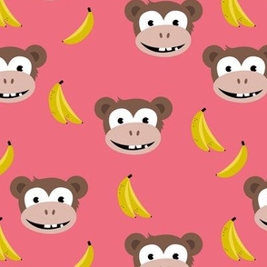 Cute little banana monkey fun fruit kids design pink