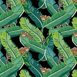 "4"" Cheetah & Tropical Leaves - Black"
