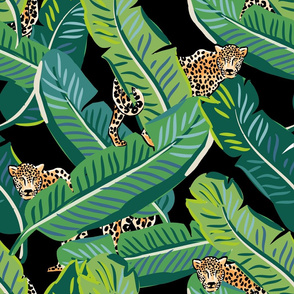 "21"" Cheetah & Tropical Leaves - Black"